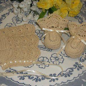 Handmade Crocheted Bonnet/Booties Set - Ecru